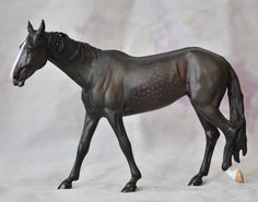 """""""Slubberdegullion"""" - Horsing Around """"Iskra"""" Akhal Teke mare resin painted to a very dark bay with slight dappling by Elizabeth Bouras/Amarna Productions (2015), owned by Shay Canfield"""