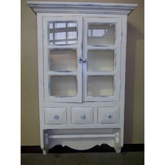 French Country Chic Medicine Cabinet Shelf U0026 Rail Wall Unit Shabby Chic  Distressed Wood