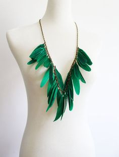 Emerald Green Statement Feather Necklace - Spring Summer 2012 Neon Color Blocking Trend Free Gift with Purchase