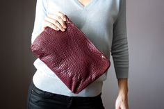Lambskin clutch  leather clutch fold over  by VitalTemptation