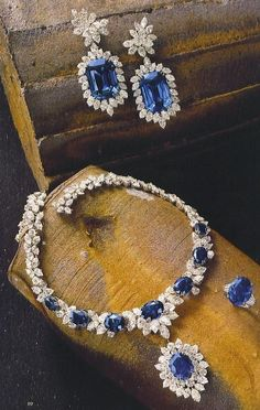 Sapphire and Diamond Necklace, Earrings and Ring