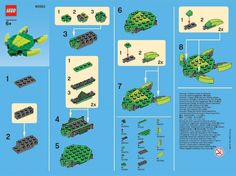 The Lego Store's Monthly Mini-Model Build instructions for March a Sea Turtle. Lego Minecraft, Hama Beads Minecraft, Lego Disney, Legos, Lego Turtles, Lego Therapy, Art Hama, Lego Challenge, Lego Animals