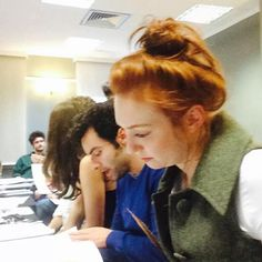 Eleanor, Aidan, and Heida at the Poldark series 2 read through. Picture posted by Beatie Edney who plays Prudie...
