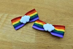Items similar to Rainbow Cloud Ribbon Hair Clip Bows, multi colour hair accessory barette, girls or women, celebration gift pride, colourful crocodile chip on Etsy Rainbow Cloud, Over The Rainbow, Ribbon Hair Clips, Classroom, Bows, Craft Ideas, Clouds, Unique Jewelry, Places