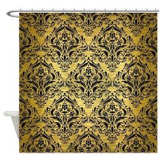 Golden Stripe Vintage Damask Shower Curtain By DecorativeDesigns See More DMS1 BK MARBLE GOLD R