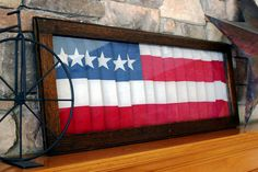 Folded flag in an oak framed glass door created a of July decoration with a vintage feel. (The flag was not cut for this project. Its folded to size and the pleaded edges are held by tape to the frame so as to not damage the flag. July Crafts, Holiday Crafts, Holiday Ideas, Holiday Fun, Folded Flag, American Flag Painting, Old Shutters, Window Shutters, Patriotic Decorations