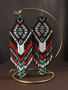Beaded earrings Own designer ornament earrings Extra long Beaded Earrings Native, Beaded Earrings Patterns, Native Beadwork, Fringe Earrings, Beading Patterns, Seed Bead Jewelry, Seed Bead Earrings, Beaded Jewelry, Dangle Earrings