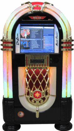 Rock-Ola Gloss Black Nostalgic Music CenterJukebox   Model QB8-PV4   From Rock Ola Jukeboxes      Get more information about this game at: http://www.bmigaming.com/games-catalog-rockola.htm