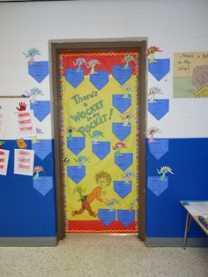 Seuss There's a Wocket in my Pocket Door Decorating Contest Dr. Seuss There's a Wocket in my Pocke. Dr. Seuss, Dr Seuss Week, Dr Suess Door Decorations, School Decorations, Dr Seuss Activities, Kindergarten Activities, Preschool, Classroom Door, Classroom Themes