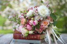 Spring wedding crab apple blossom and rose bouquet By: Floret Flower Farm photo: Georgianna Lane Wedding Flower Arrangements, Floral Centerpieces, Wedding Bouquets, Floral Arrangements, Floral Bouquets, Flowering Crabapple, Fleur Design, Book Flowers, Cut Flowers