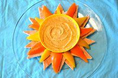 cute idea to present hummus/peppers and pita bread