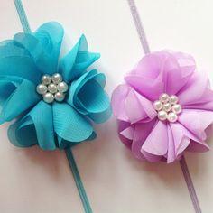 Lavender/Turquoise Pearl Ava Flower Headband by HairBowBoulevard   #craftshout0125 #babyheadband #kidchic #toddler #babygirl #littlegirl #etsy #moms #kidsfashion #minifashionista #hairbowboulevard