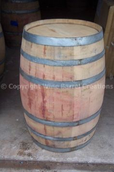 Used Wine Barrel Solid Oak From Napa Valley By Wine Barrel Creations Made from 1 thick solid oak. inside still shows the gorgeous red wine stain. has original cooperage marking and metal bands. from a Napa Valley winery. great for wine cellars or bar area.  #WineBarrelCreations #Lawn&Patio
