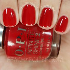 nails.quenalbertini: OPI Big Apple Red, Infinite Shine Iconic Collection | Peachy Polish