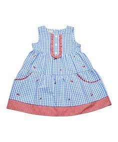 Look at this #zulilyfind! Blue & Red Gingham Ruffle Bib Dress - Infant, Toddler & Girls #zulilyfinds