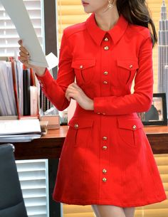 Red+Button+Down+Long+Sleeve+Coat