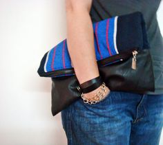 Oversized Canvas and Leather Clutch Purse Striped Foldover Bag