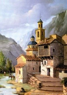 Painting Videos, Painting Tips, Greece Painting, City Art, Painting For Kids, Old Houses, Home Art, Landscape Paintings, Watercolor Paintings