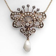 Antique Victorian Pendant Necklace Diamonds & Seed Pearls in 14K & 10K Gold