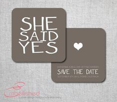 Save the date card modern contemporary brown  by EmbellisheDesigns, $10.00