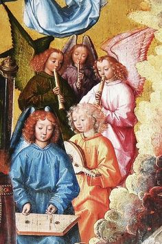 Master of the St Lucy. Musician Angels detail c 1480 - love the instruments