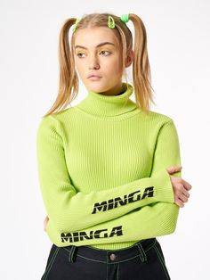 Chunky Knit Top in Lime Green High Neck Long Sleeve Sleeve Logo Detail Available in sizes S / M / L Cotton Made in Europe Model wears size S and she is tall Fashion Room, Fashion Outfits, Fashion Clothes, Mode Grunge, Grunge Teen, Green Turtleneck, Kids Clothing Brands, Ribbed Top, 2000s Fashion