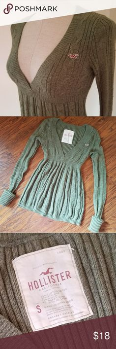 HOLLISTER Deep V Cable Knit Empire Sweater Pre - Loved, in Great Condition Alot of life left Size SMALL / Beautiful Green Deep V Cable Knit  Empire waist very figure flattering!  Cuffed wrists Long Sleeve  Well cared for!  Bundle and Save  Adding lots of new items! Please chk out my other listings  Please Follow! Hollister Sweaters V-Necks