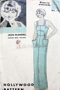 Rare 1930s Overalls Pattern Hollywood 734 Vintage Sewing Pattern Beach Pajamas Criss Cross Back Wide Leg Trousers Featuring Joan Blondell Bust 32