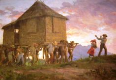 The love and way of reaching out to neighbors in their need of relocation or resettling. BAYANIHAN Filipino tradition Painting by Fernando Amorsolo Filipino Art, Filipino Culture, New Artists, Great Artists, Manila, Philippine Art, Philippines Culture, Painter Artist, Great Paintings