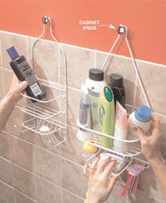 The trouble with those shower caddies that hang from the shower head pipe is that you have only one showerhead. To get more space for your bath potions, hang another caddy on a cabinet knob. With a No. 8-32 hanger screw, you can screw the knob into a stud. To fasten to drywall, use a screw-in drywall anchor along with the hanger screw.