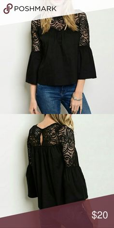Crochet Bell Sleeve Top Black Bell Sleeve top with crocheted Lace overlay. Super cute! Goes with everything Tops