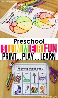 you looking for fun activities to keep your kids learning during the summer break? Avoid the summer slide with these hands-on activities that are perfect for Preschool going into Kindergarten! Toddler Learning, Preschool Learning, Educational Activities, Fun Learning, Preschool Activities, Summer Activities For Preschoolers, Summer School Activities, Preschool Programs, Preschool Schedule