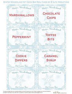 Free Printable Winter Wonderland Hot Cocoa Bar Menu Cardsby B.Nute productions