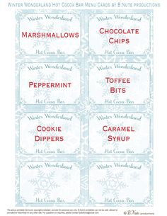 Free Printable Winter Wonderland Hot Cocoa Bar Menu Cards by B.Nute productions