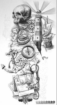 Resultado de imagem para tema fundo de mar tattoo desenho