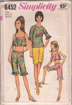 Vintage 60's Sewing Pattern Mod Gogo Beach Flared Crop Top, Blouse, Knee Knocker Shorts, Clam Diggers Pants