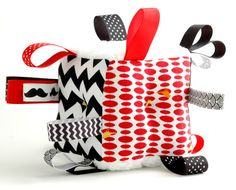 Soft Baby Block Rattle Black White Ribbon Toy High Contrast Newborn Gift. $24.00, via Etsy.