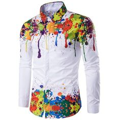 Colorful Splatter Paint Pattern Turndown Collar Long Sleeve Shirt (41 BAM) ❤ liked on Polyvore featuring men's fashion, men's clothing, men's shirts, men's casual shirts, colorful tops, multi color tops, white long sleeve top, white top and long sleeve shirts