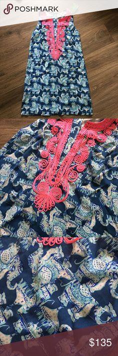 4bac17ca589f42 NWT Lilly Pulitzer Carlotta Stretch Shift 6 NWT Lilly Pulitzer Carlotta  Stretch Shift in Deep Indigo Joy Ride. size Beautiful blue elephant print  with hot ...