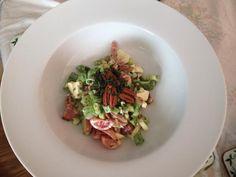 Here's apprentice bacon, pecan, feta salad, honey dressing, topped with mint from Honey Dressing, Feta Salad, Pecan, Mint, Ethnic Recipes, Food, Peppermint, Essen, Yemek