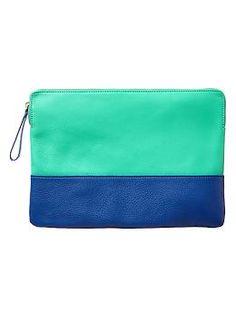 //secret santa gift --Two-tone leather clutch   Gap