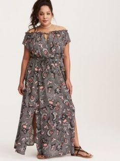Floral Print Off Shoulder Slit Maxi Dress in Black/Red