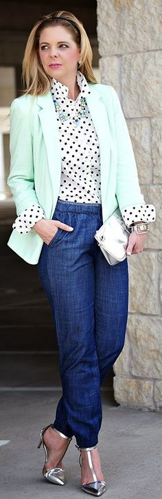 Lilla P. Mint French Terry Blazer by Because Shanna Said So.  Whole outfit is cool.