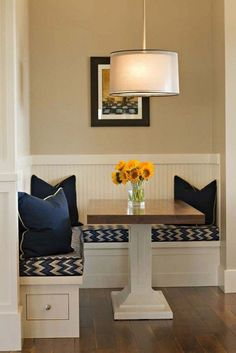 Dining room Corner bench - Fresh interior design solutions for the dining room - Dining corner seat dark blue - Corner Bench Seating, Dining Room Bench Seating, Living Room Bench, Living Room Furniture Arrangement, Dining Table Design, Small Living Rooms, Dining Room Furniture, Furniture Layout, Kitchen Seating
