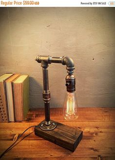 Items similar to EBE Designer Industrial Lighting - Steampunk Lamp Table Lamp Edison Vintage Light Water Pipe Bedside Lamp Rustic Light Fisherman on Etsy Edison Lighting, Rustic Lighting, Industrial Lighting, Vintage Lighting, Industrial Pipe, Industrial Style, Urban Industrial, Lighting Ideas, Bedside Lamps Rustic