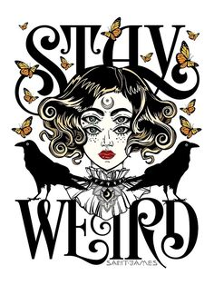 Rose and The Ravens – Stay Weird (Colour Version) by Saint James. / Black and white version available here / Stay weird because weird is wonderful! Weird Drawings, Weird Art, Art Drawings, Weird Tattoos, Tatoos, Rabe, Stay Weird, Black And White Drawing, Black And White Illustration