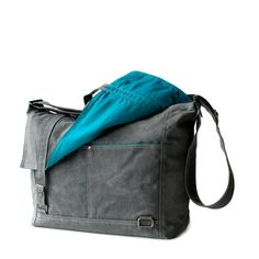 Messenger no.3 in gray waxed canvas by moop on Etsy