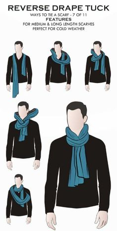 How To Tie A Manly Scarf Knot? These 3 ways to wear a scarf will ensure that you… How To Tie A Manly Scarf Knot? These 3 ways to wear a scarf will ensure that you are warm, the scarf won't come undone and you will look stylish. Ways To Wear A Scarf, How To Wear Scarves, Tie Scarves, Scarves For Men, Wearing Scarves, Fashion Mode, Mens Fashion, Fashion Tips, Daily Fashion