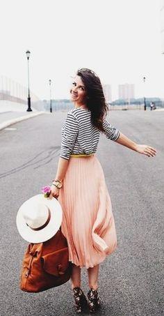 tall pink midi skirt