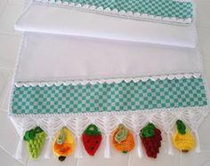 Trilho Centro de Mesa Frutas de Croche
